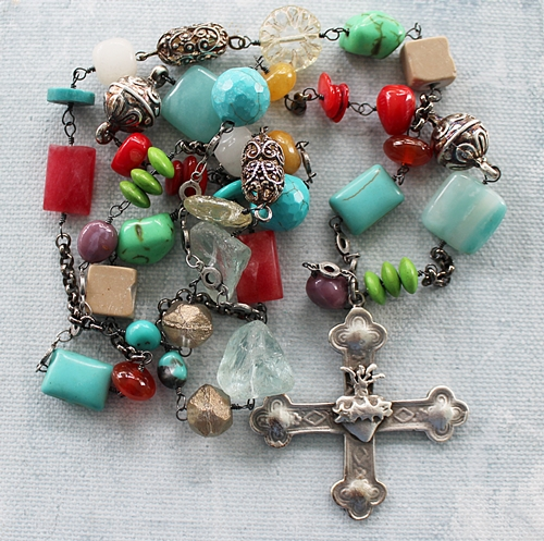 Mixed Gem Sacred Heart Cross Pendant Necklace - The Sacre Coeur Necklace