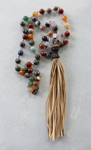 Tassel and Mixed  Gem Necklace - The Ellie Necklace