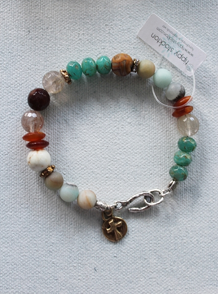 Mixed Gem and Cross Bracelet