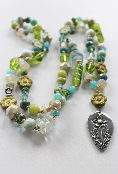 Mixed Glass and Gem Necklace - The May Necklace