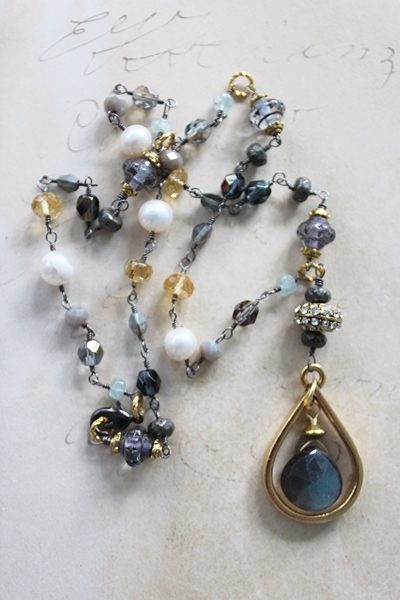Mixed Gem and Labradorite Necklace - The Kerrigan Necklace