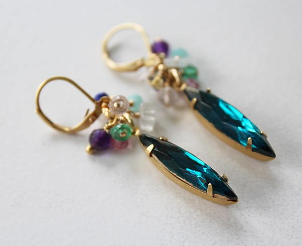 Vintage Teal Drops with Mixed Gem Cluster Earrings - The Arianna Earrings