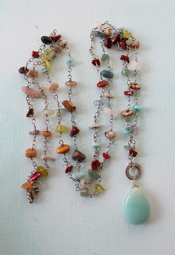 Amazonite Pendant on Mixed Gem Chain Necklace - The Stella Necklace