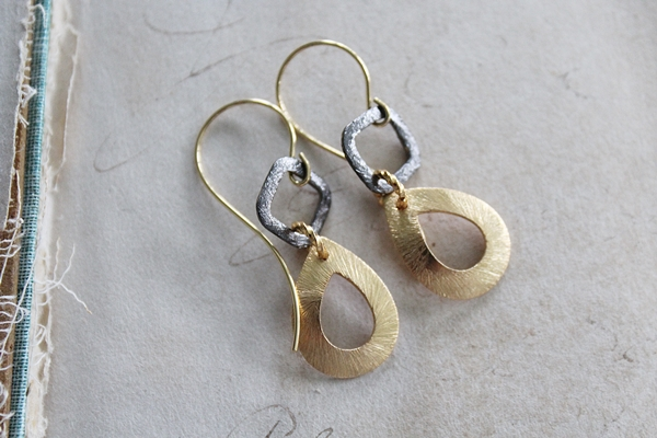Mixed Metal Earrings - The Sylvie Earrings