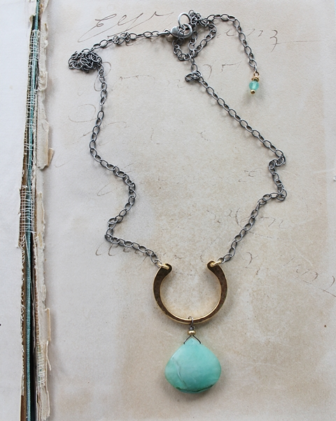 Mixed Metal Peruvian Opal Necklace - The Hayleigh Necklace