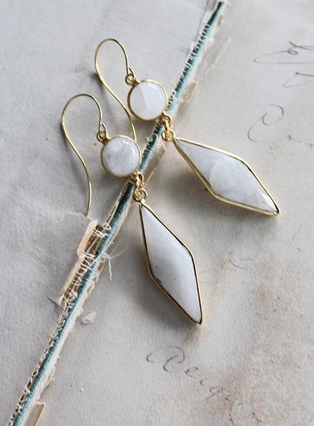 Moonstone Diamond Shaped Earrings - The Annie Earrings