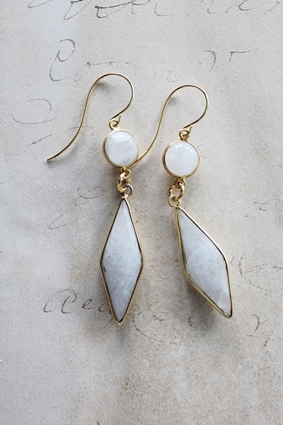 Moonstone Diamond Shaped Earrings - The Annie Earrings