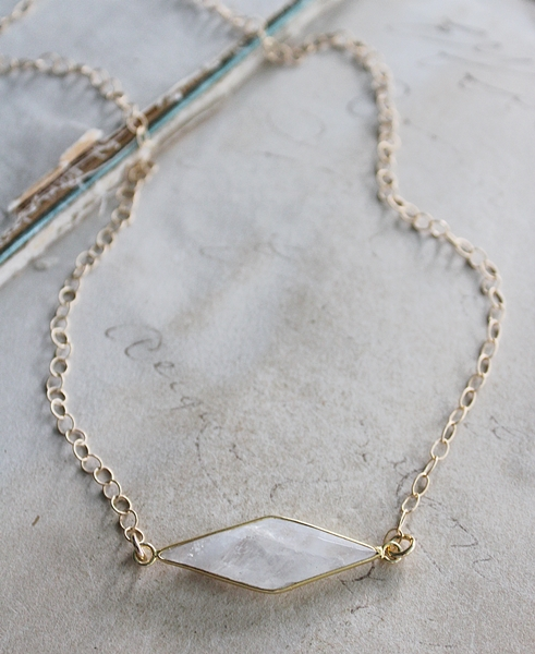 Moonstone Diamond Shaped Bar Necklace - The Annie Necklace