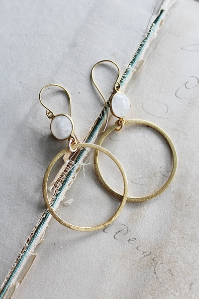 Moonstone and 14kt Gold Hoops - The Calli Earrings