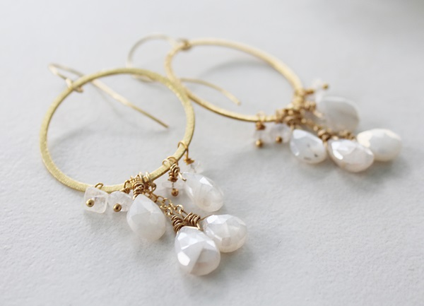 Moonstone and 14kt Gold Hoops - The Cassie Earrings