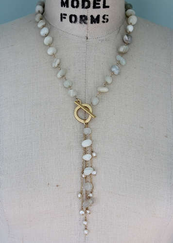Moonstone and Fresh Water Pearl Lariat Necklace - The Carryn Necklace