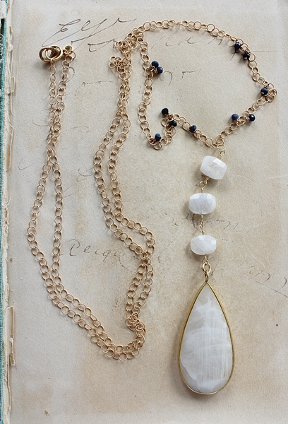 Moonstone Teardrop and Raw Sapphire Necklace - The Genessa Necklace