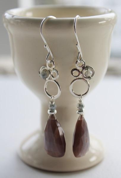 Australian Moonstone and Zircon Sterling Silver Earrings - The Stella Earrings