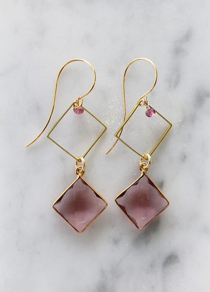 Morganite, Pink Tourmaline and Gold Earrings - The Mandy Earrings