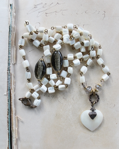 Vintage Mother of Pearl Rosary  Chain and MOP Heart Pendant - The Valerie Necklace