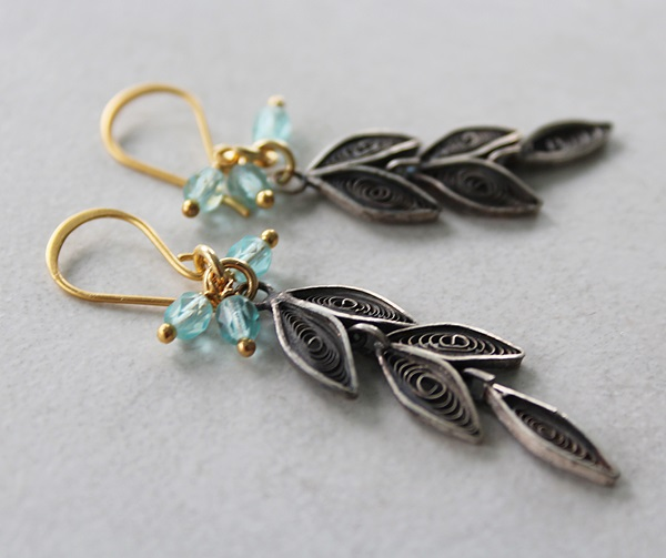 Vintage Sterling Silver Cannetile Leaf Drops with Czech Glass - The Erica Earrings