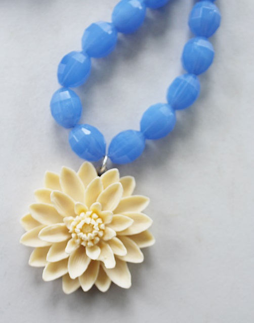 Vintage German Periwinkle Faceted Glass and Celluloid Pendant - The Julianne Necklace
