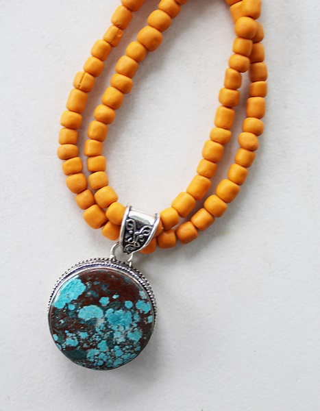 Turquoise Sterling Silver Pendant with Java Bead Necklace - The Arizona Necklace