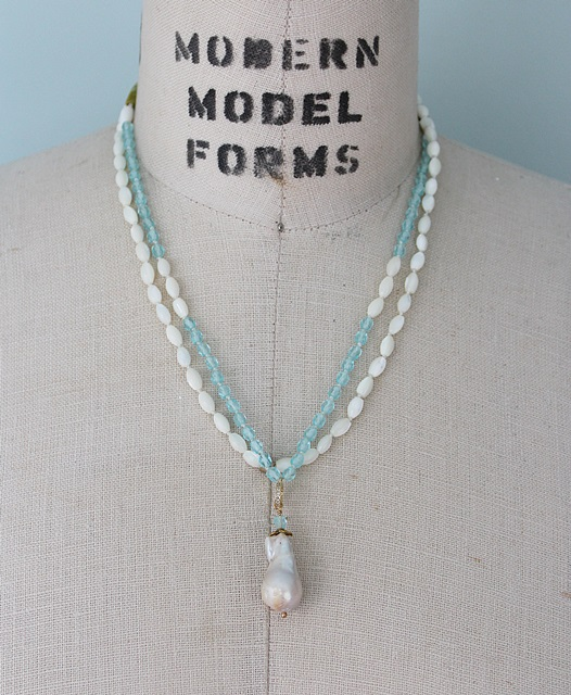 Mother of Pearl and Glass Baroque Pearl Necklace - The Marnie Necklace