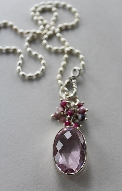 Pink Topaz and Sterling Silver Pendant - The Rosalie Necklace