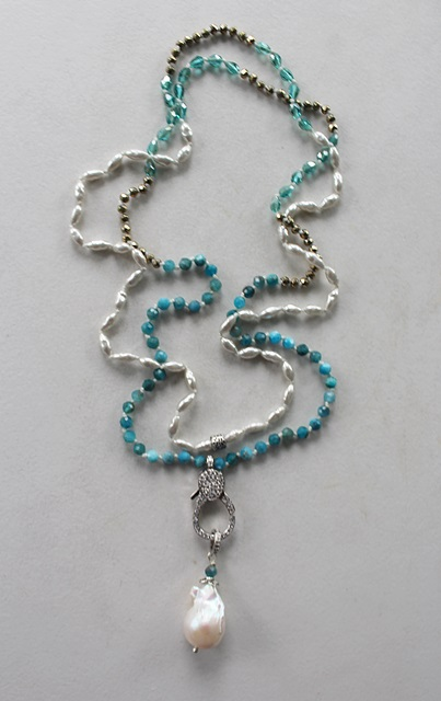 Apatite, Vintage Glass Pearls, Czech Glass and Baroque Necklace - The Valerie Necklace