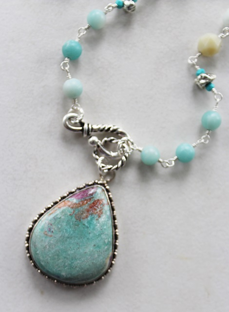 OOAK Amazonite Pendant and Mixed Gem Necklace - The Lainey Necklace