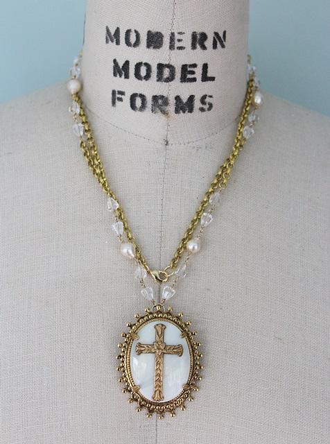 Mother of Pearl and Gold Cross Pendant Necklace - The Redeemer Necklace