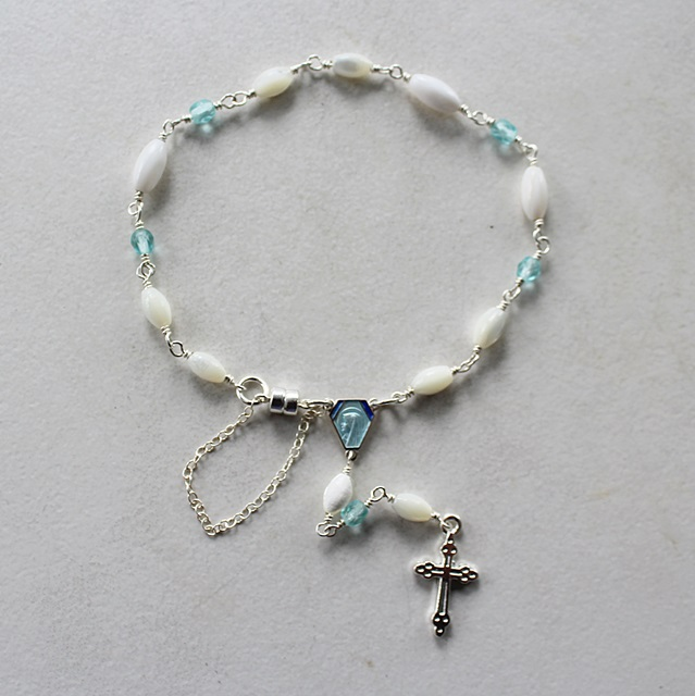 Mother of Pearl and Glass Chaplet - The Rosary Bracelet