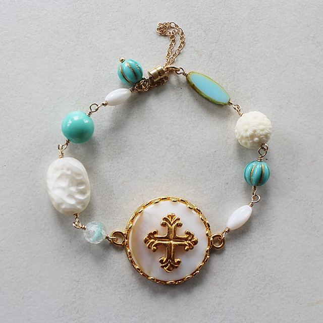Mother of Pearl Cross and Mixed Glass Bracelet - The Marian Bracelet
