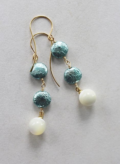 Vintage Japanese Glass Coin Pearls and MOP Trio Earrings - The Nancy Earrings