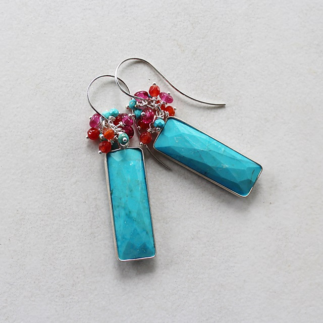 Turquoise Slab and Mixed Gem Earrings - The Fiesta Earrings