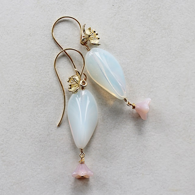 Czech Glass and Gold Blossom Earrings - The Plumeria Earrings