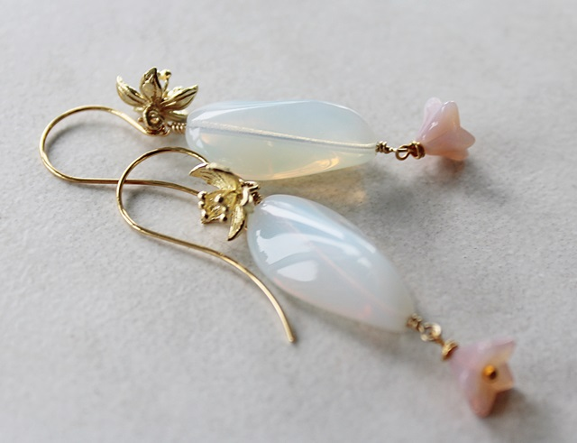 NEW Color - Czech Glass and Gold Blossom Earrings - The Plumeria Earrings