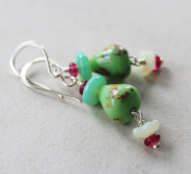 Vintage Green Lampwork and Mixed Glass Earrings - The Rudy Earrings