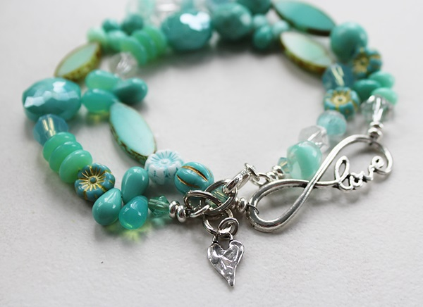 Mixed Czech Aqua Glass Bracelet - The Love Bracelet