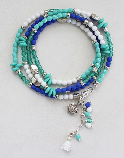 Czech Glass Quad Wrap Bracelet/Necklace - The Mykonos Bracelet