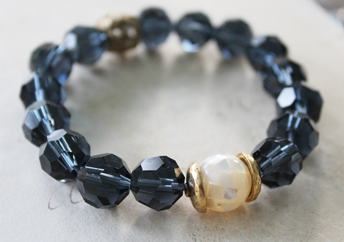 Navy Blue Czech Glass Mother of Pearl Stretch Bracelet