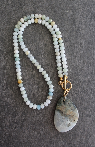 Ocean Jasper and Aquamarine Lariat Necklace - The Alyssa Necklace