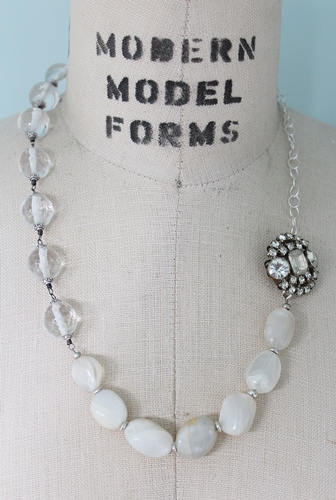 Moonstone and Vintage Glass Rhinestone Necklace