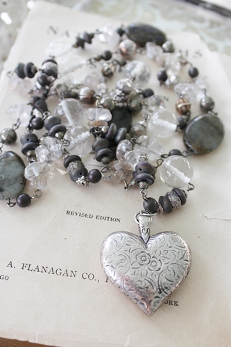 Vintage Glass Chain and Etched Heart Necklace
