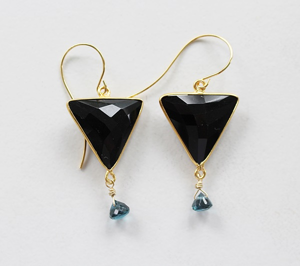 Black Onyx and London Blue Topaz Drop Earrings - The Langley Earrings