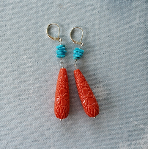 Orange Engraved Lucite and Turquoise Earrings - The Kat Earrings