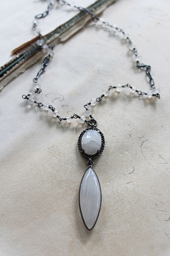 Moonstone and Oxidized Sterling Silver - The Steffi Necklace