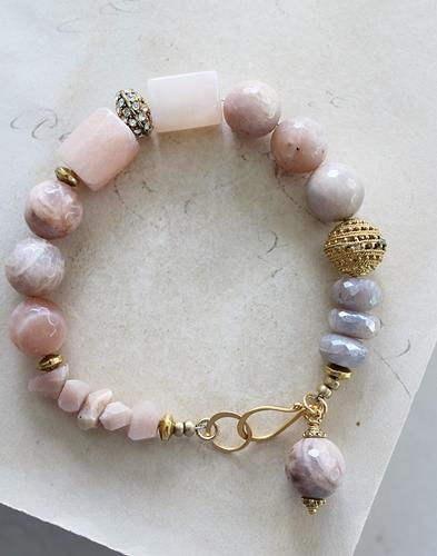 Peach Moonstone and Rhinestone Bracelet - The Clara Bracelet