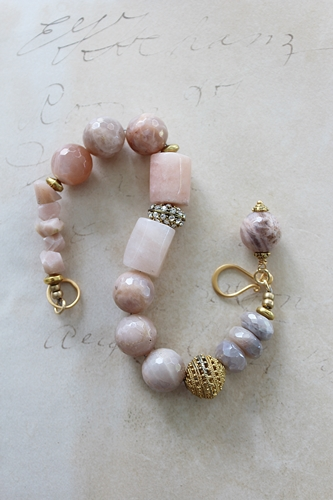 Peach Moonstone and Rhinestone Bracelet - The Clara Bracelet