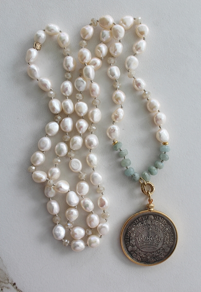 Fresh Water Pearl and Aquamarine French Medal Necklace - The Simone Necklace