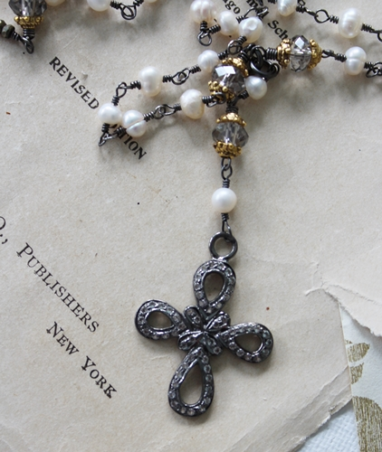 Fresh Water Pearl and White Topaz Cross Necklace