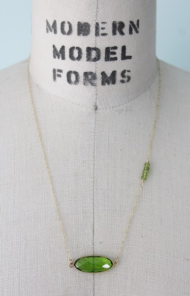 Peridot Oval Bar Necklace - The August Necklace