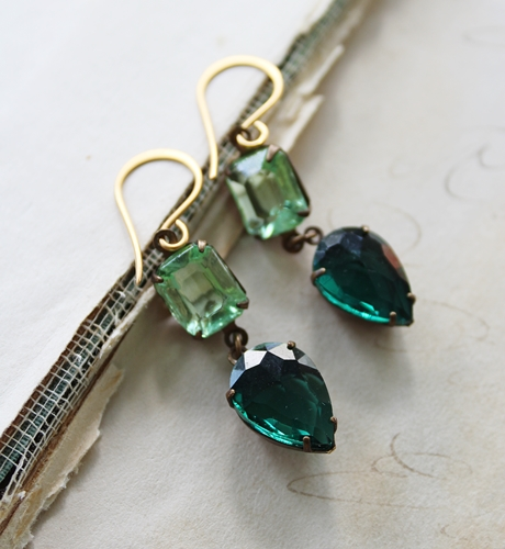 Peridot and Hunter Green Vintage Glass Drop Earrings