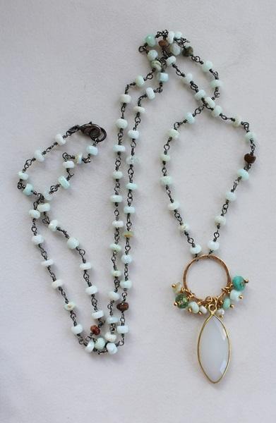 Peruvian Opal and Snow Quartz Boho Necklace - The Lizzy Necklace